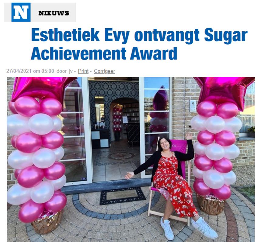Esthetiek Evy ontvangt Sugar Achievement Award